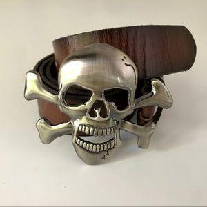 Vintage Brown Leather Belt with Skull Belt Buckle